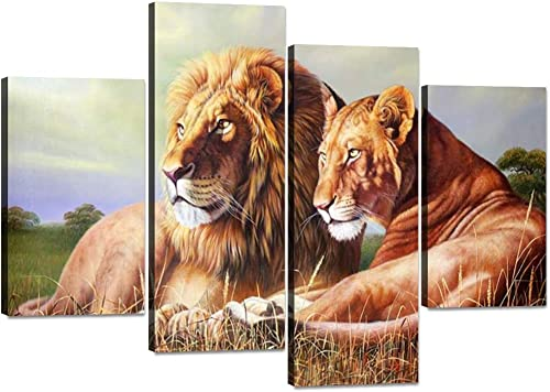 4 Panels Lion Pictures Wall Decor Modern Gallery-wrapped Lion and Lioness Canvas Wall Art Stretched and Framed Ready to Hang