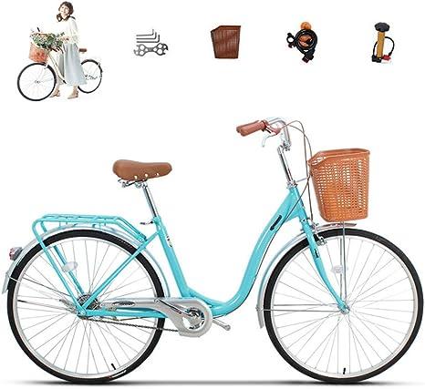 LHY Bicicleta para Damas, Bicicleta Urbana clásica Tradicional con Canasta para Estudiantes Bicicleta Urbana para Mujeres Bicicleta de Carretera Urbana para niños de 26