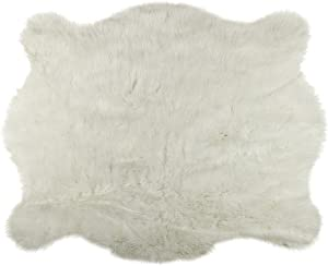 Luxe Faux Fur Cowhides Soft Low Pile Durable Fade-Resistant Shed-Free Animal-Free Faux Cowhide Area Rug | 4-1/4 ft x 5 ft, Polar Bear