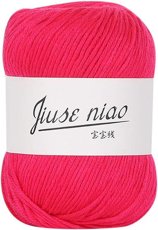YUYOUG 1 Pieza 50 g Suave algodón Lana de Lana Natural para Tejer ...