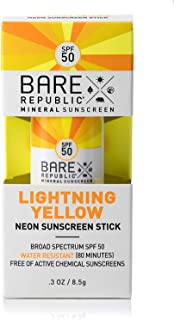 product image for Bare Republic Mineral SPF 50 Neon Color Stick, Lightning Yellow, 0.3 Ounce