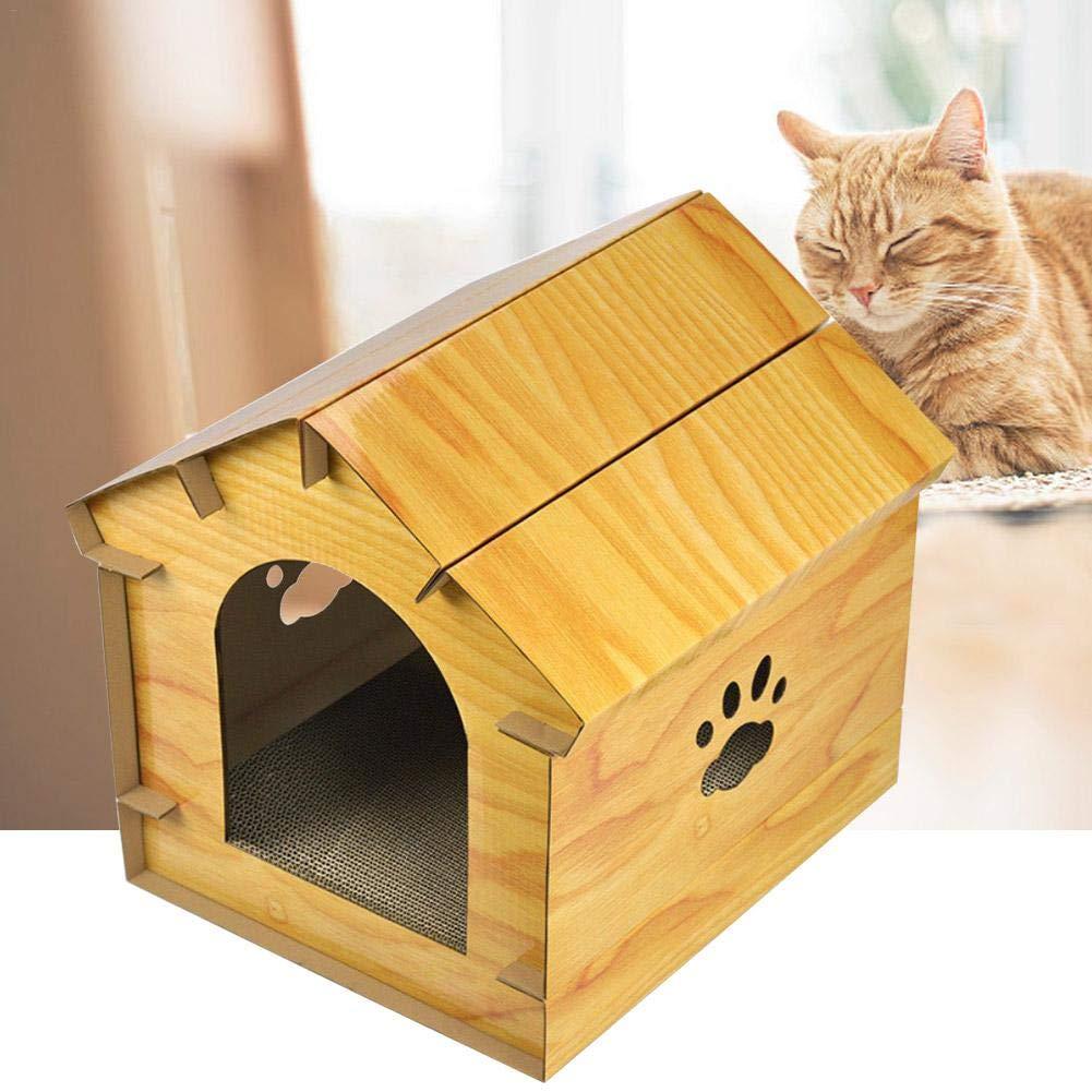 Jannyshop 40.6×40.2×40CM Simulación de Madera Casa de Gato con Tablero del Rasguño del Gato Interior Cómodo Casa para Mascotas y Sofá: Amazon.es: Productos ...