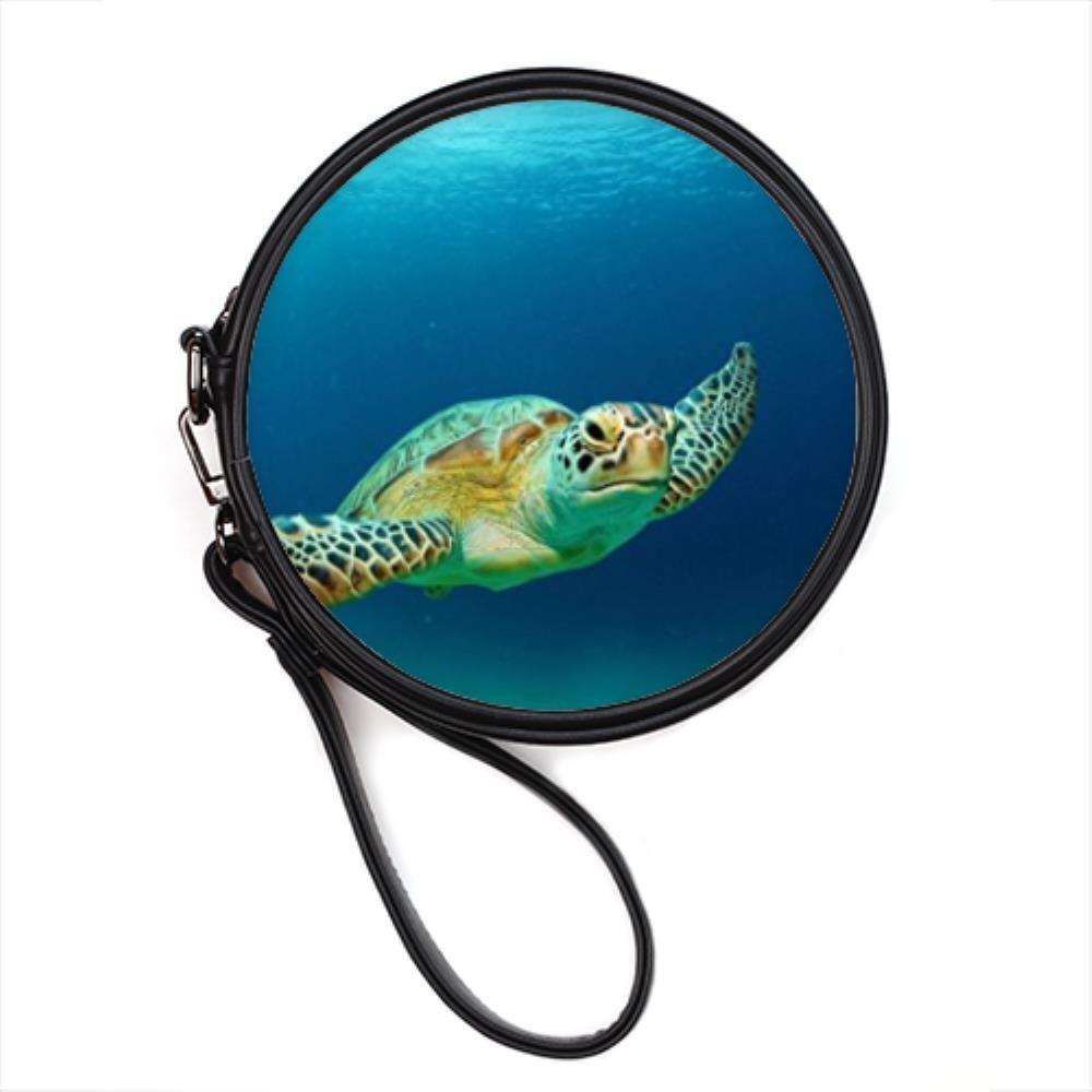 Funny Sea Turtle Ocean Animal Custom Round Makeup Bag Custom by Bernie Gresham