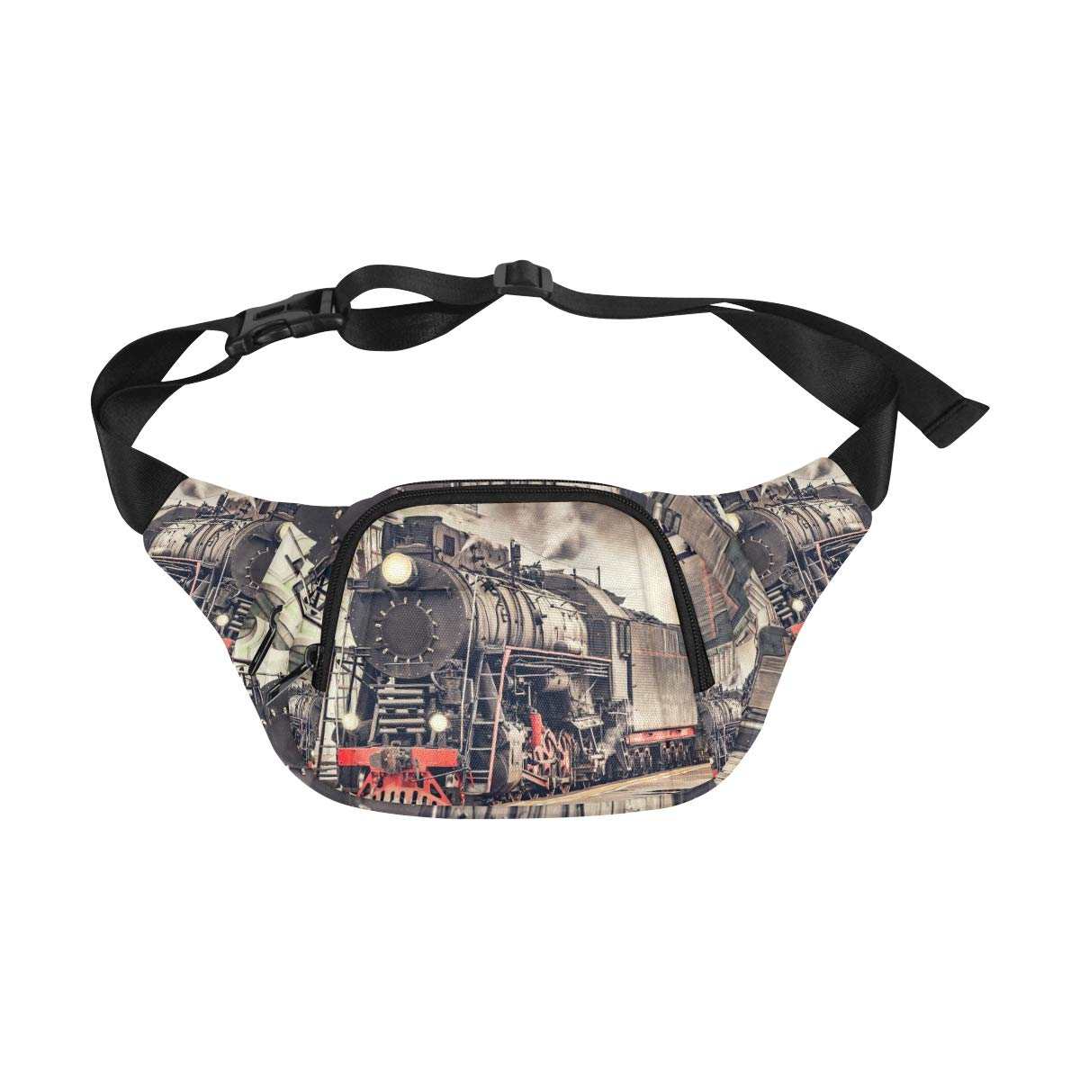 Old Steam Locomotive Old Train Fenny Packs Waist Bags Adjustable Belt Waterproof Nylon Travel Running Sport Vacation Party For Men Women Boys Girls Kids