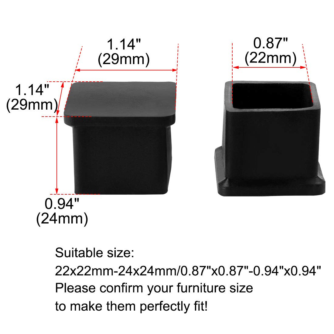 uxcell PVC Table Leg Cap End Tip Feet Cover Furniture Glide Floor Protector 24pcs 1.26 x 1.26 Inner Size Reduce Noise Prevent Scratch 32x32mm