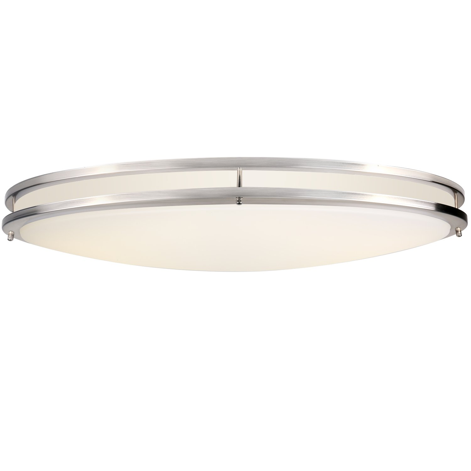 Hykolity 32'' Dimmable LED Flushmount Ceiling Downlight Brushed Nickel Oval Lamp Fixture 48W [300W Equivalent] 3360Lm 4000K for Bedroom, Restroom, Walk In Closet, Washroom, Living Room