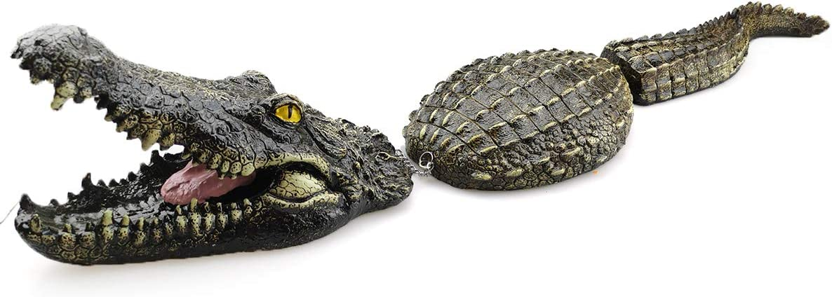 Petyoung 30 Inches Floating Crocodile Decoy for Pool, Pond, Garden and Patio, Floating Alligator Decoy Goose Duck Control Garden Park Decor