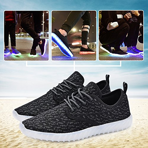 Men Shoes LED Up Control Black Low Top Breathe Noctilucent Sneakers With Flashing 7 Women KEALUX Sport Lace Color Fabric Remote amp;grey Charge USB X0Awq4Px