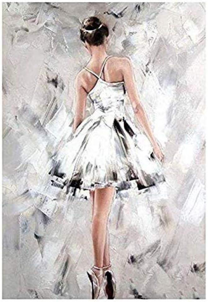 nobrand,pintar por numeros adultos Bailarina DIY pintura al óleo digital lienzo kit mural decoración del hogar arte-Con Marco 40X50Cm