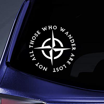 "Bargain Max Decals LOTR Not All Those Who Wander are Lost Sticker Decal Notebook Car Laptop 5"" (White): Automotive"