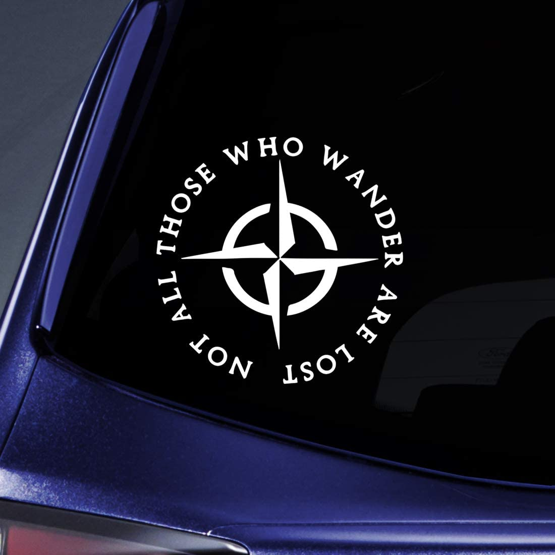 "Bargain Max Decals LOTR Not All Those Who Wander are Lost Sticker Decal Notebook Car Laptop 5"" (White)"
