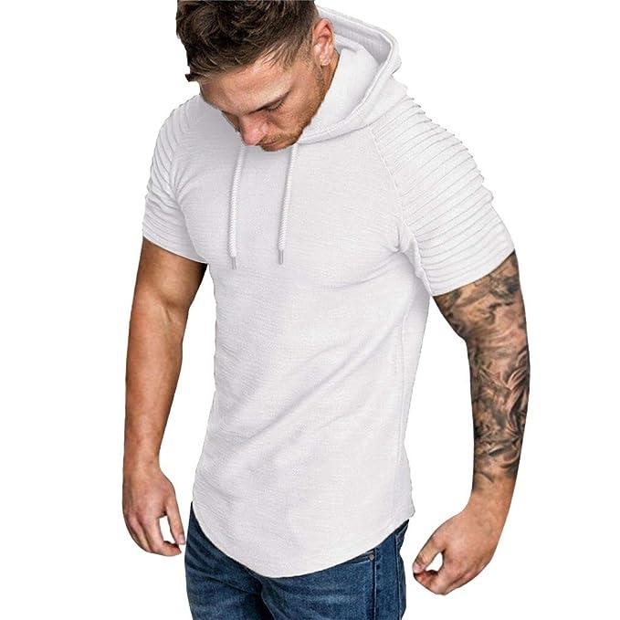 Hombres Sudaderas Rovinci Moda Primavera Verano Plisado Slim Fit Raglan de Manga Corta con Capucha Camisas Tops Blusas: Amazon.es: Ropa y accesorios