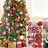 CHICHIC Luxury 52 PCS Christmas Pendant Ornaments Tree Ornaments Best Christmas Gift for Home Decoration - Red & White