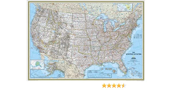 Amazoncom National Geographic Re00602008 United States Classic - National-geographic-us-map