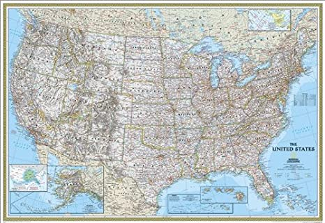 Large Us State Map.Amazon Com National Geographic Re00602008 United States Classic