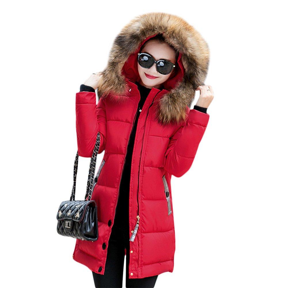 Acelyn Women's Winter Coat Hooded Long Fur Down Zipper Padded Jacket XX-Large Red