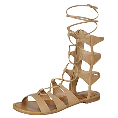 Breckelle's Women Leatherette Open Toe Gilly Tie Wrap Gladiator Sandal EA51 - Natural (Size: 6.0) | Sandals