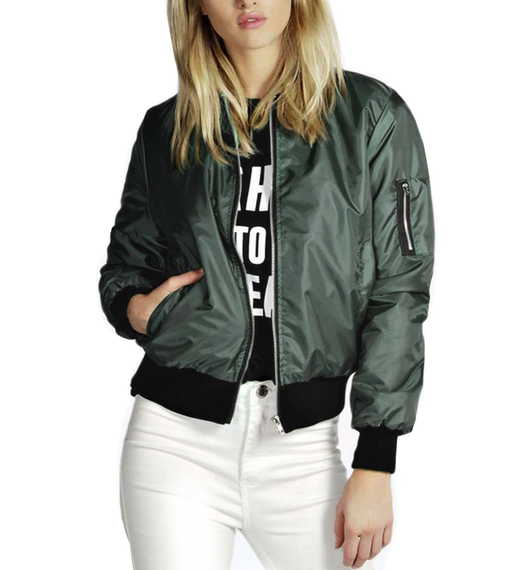 YipGrace Women's Cool Casual Long Sleeves bomber coat Ladies Zip Up Outwear Classic Jacket