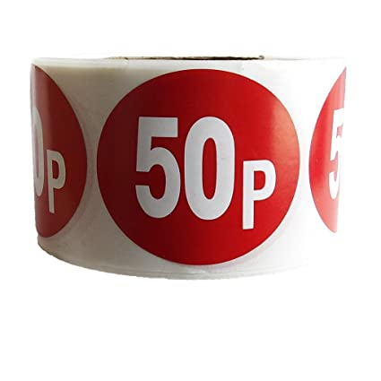 """Roll of 500 /"""" 99p /"""" Retail Shop Price Labels Self Adhesive Stickers QUALITY 45mm"""