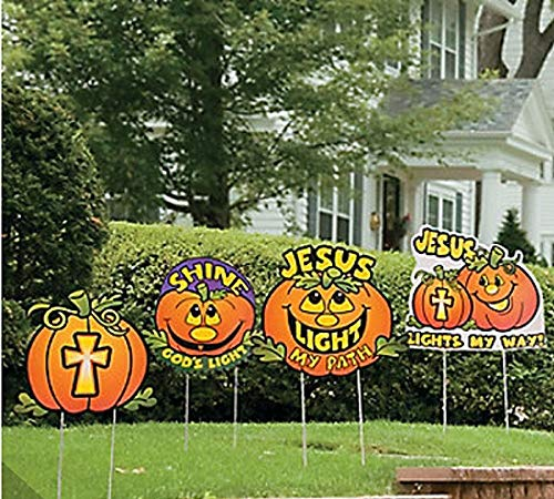 Halloween Jack o Lantern Church Yard Stakes Christian
