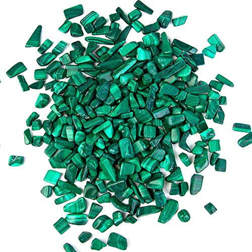 (Arswin Malachite Natural Crushed Stone Bulk Small Tumbled Chips Crystal Healing Reiki for Outdoor Indoor Home Making Decoration, Fish Tank, Vase Fillers, Succulent Pot Decor, 1lb 0.3-0.4