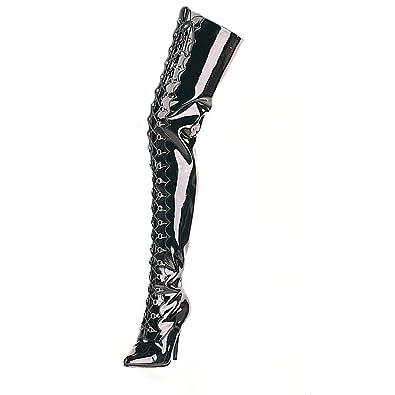00efc6a2a62ed8 Higher-Heels PleaserUSA Overknee-Stiefel Seduce-4026 extralang Lack schw. 36