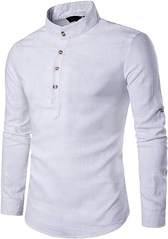 Cyiozlir Camisa para hombre, cuello alto, corte ajustado, manga larga, camisa de lino, camisa informal con botones