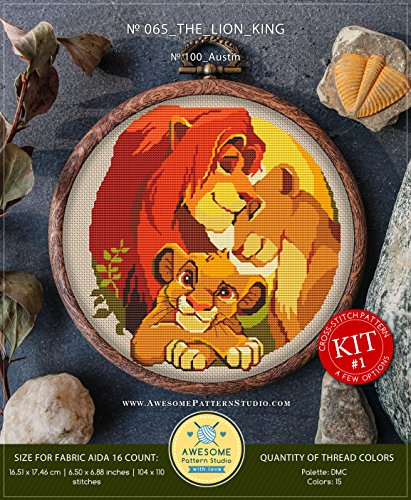 The Lion King #K065 Embroidery Kit | Disney Cross Stitch Patterns | How to Cross Stitch | Needlepoint Kits | Funny Animals Stitch Design | Embroidery Stitches
