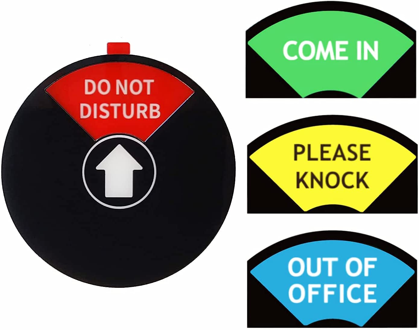 Privacy Sign, Do Not Disturb Sign, Out of Office Sign, Please Knock Sign, Come In Sign, Office Sign, Conference Sign for Home Offices,Black (4 Inch) / 1 PACK