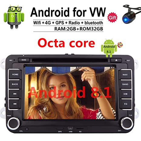 Android 8.1 Car Stereo Radio HD 7 Inch Double 2 Din GPS Navigation CD DVD in Dash auto Audio Video for VW Golf Passat Jetta EOS Head Unit Bluetooth Touch ...