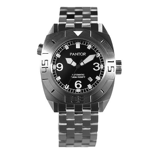 Diver reloj Pantor sello 500 M Pro automático reloj de buceo con he-valve cristal de zafiro y correa de acero inoxidable para buceo Relojes: Amazon.es: ...