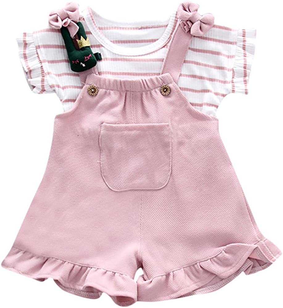 Shorts Set Bib Pants for Little Girl Summer Clothes Sets for Baby Girls Striped Short Sleeve Shirt