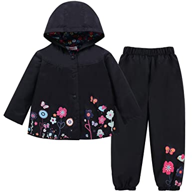 437a2036ee21 Amazon.com  LZH Toddler Girls Raincoat Waterproof Rain Jacket Pants ...