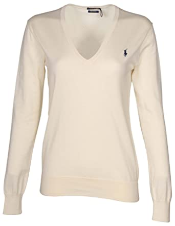 6249299fa5ed Polo Ralph Lauren Womens Pima Cotton V-Neck Sweater at Amazon Women s Clothing  store