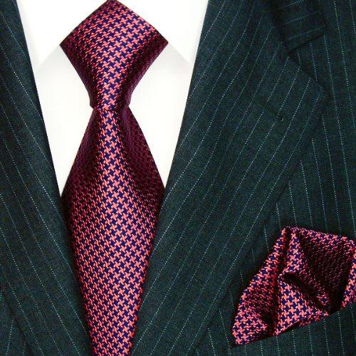LORENZO CANA Luxury Italian 100% Silk Woven Tie Hanky Set Blue Red 8449601 by LORENZO CANA (Image #2)