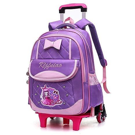 YiAmg Precioso Mochila para Niños 6 ruedas Trolley Bolsas de Escuela Bolsas de viaje de equipaje