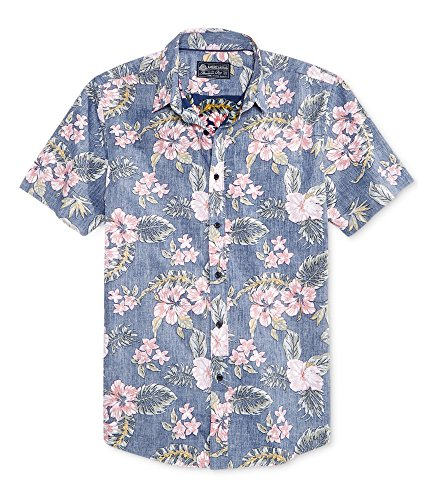 American Rag Tossed Tropics Floral Short Sleeve Button Down Shirt (Fresh Indigo, X-Large)