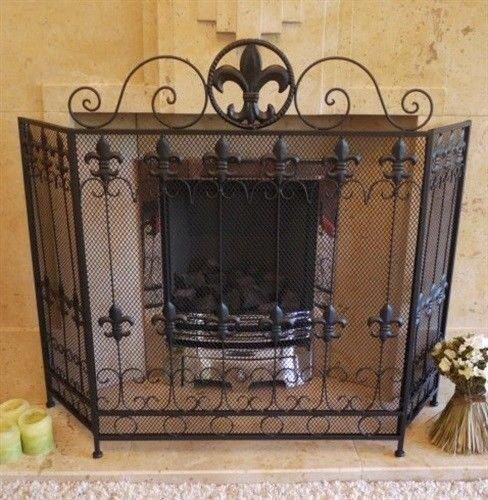 Black Antique Vintage Fireplace Fire Guard Surround Spark Mesh Nursery Screen E giftwarez