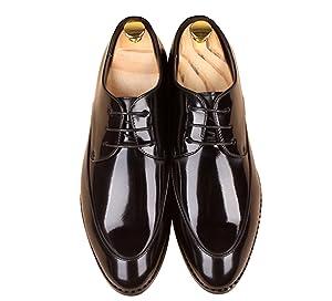 Men's Classic Modern Retro Oxfords Round-Toe Wingtip Comfort Lace Buckle Casual Dress Shoes by Santimon Black 7 D(M) US