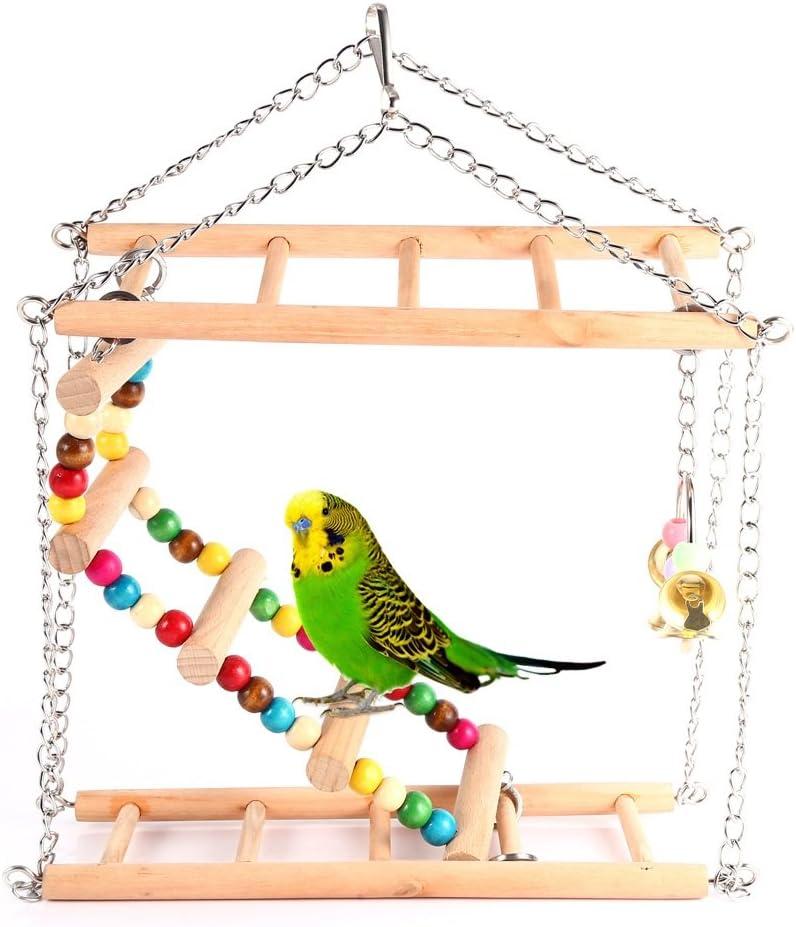 Colgantes de madera - Puente levadizo - Escalera - Pájaros - Loros en Jaula - Hámsters: Amazon.es: Productos para mascotas