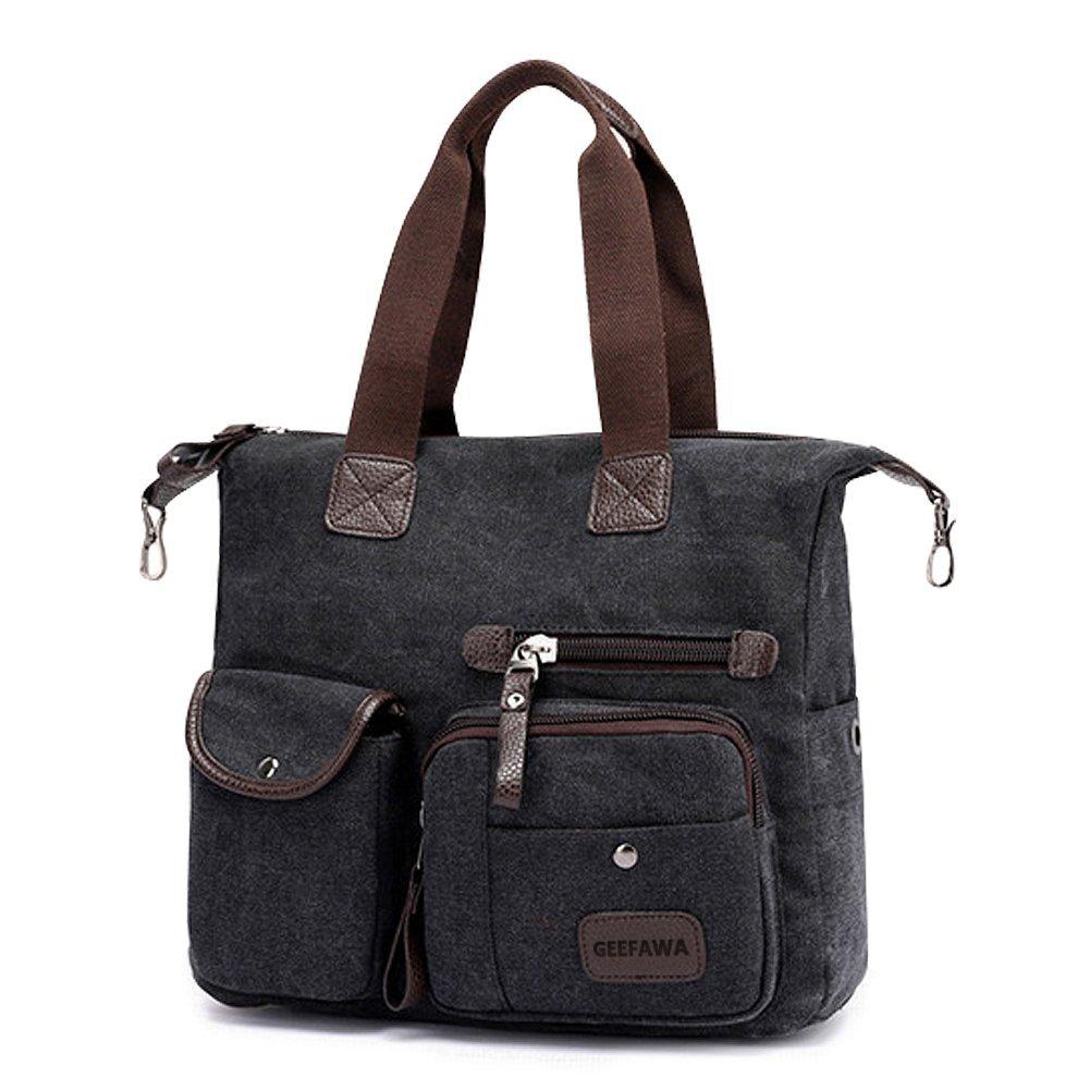 Women's Canvas Tote Bag Top Handle Bags Shoulder Handbag Tote Shopper Handbag crossbody bags (Black) by Greatbuy-US (Image #2)