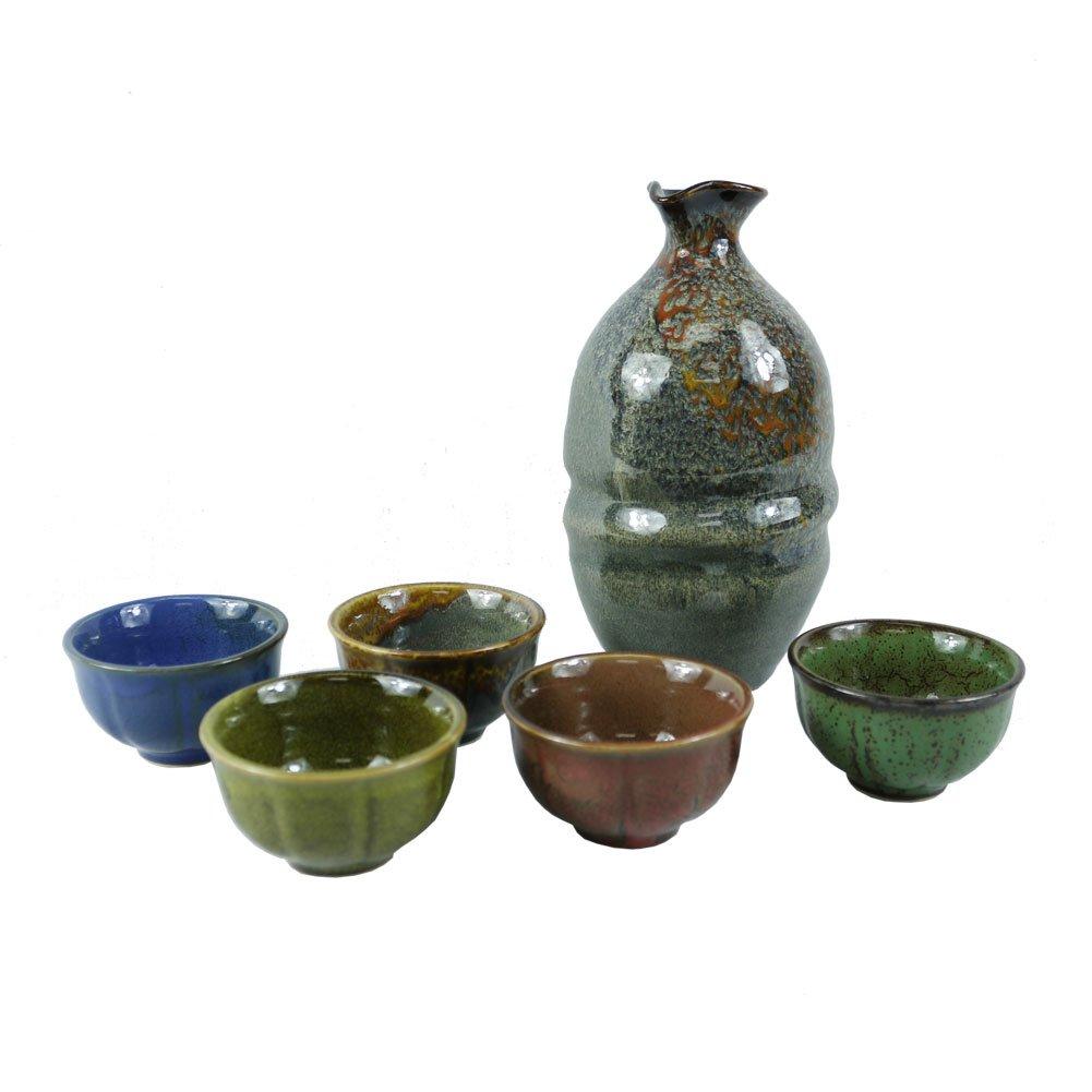 6 Piece Handmade Ceramic Pottery Porcelain Traditional Sake Serving Gift Set Glazed Wine Cold Sake Set (5 Cups with 1 Bottle)