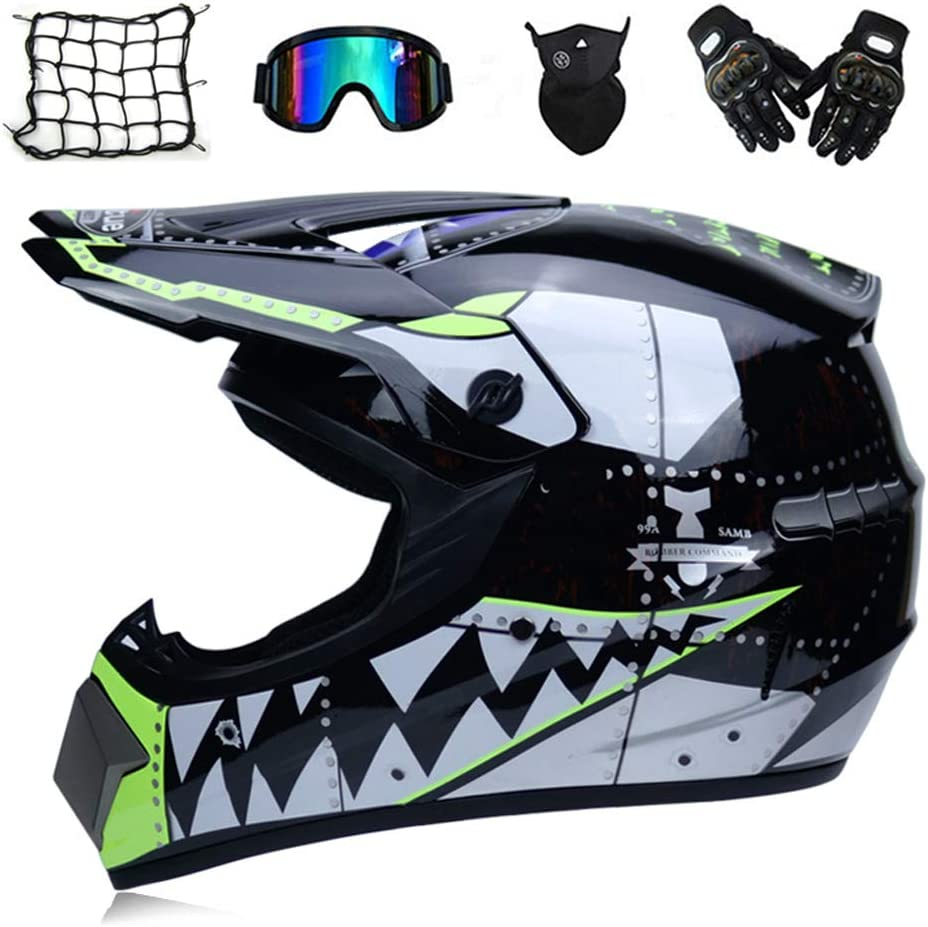 Noir//Requin Adulte Casque Moto Cross BMX Enduro Moto Set avec Gants//Lunettes//Masque//Filet /à Elastique MRDEAR Casque Motocross Enfant Casque VTT Integral 5 Pcs