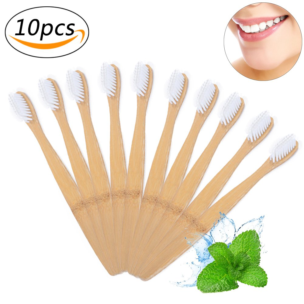 Natural Bamboo Toothbrush Wooden Organic & Biodegradable Toothbrush Soft BPA Free Bristles-10 Pack (Black) Ouchver