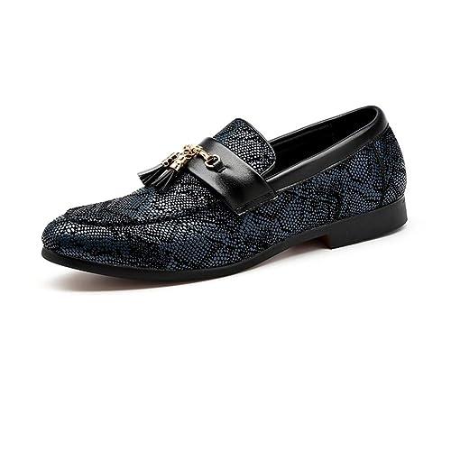 NXY De los Hombres Cuero Borla Mocasines Vendimia Diseñador Italiano Estampado de Piel de Serpiente Plano Comodidad Conducción Zapatos: Amazon.es: Zapatos y ...