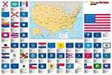 United States Flags Map Wall Poster - 36x24 Rolled Paper - 2018