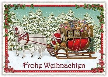 Weihnachten Nostalgisch.Nostalgische Weihnachtskarte Frohe Weihnachten Pferdeschlitten