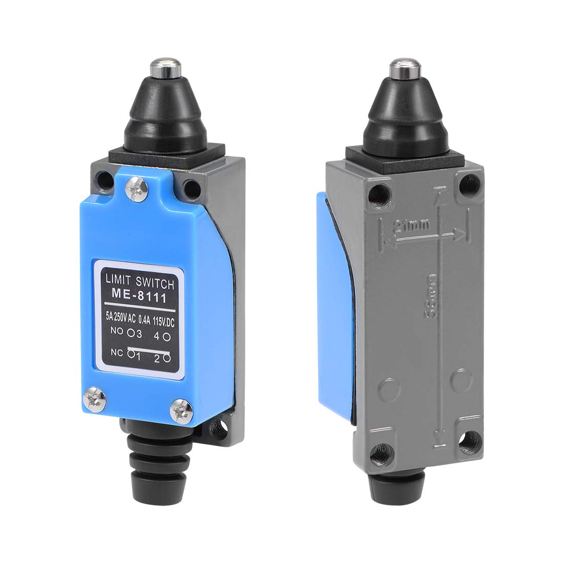 Electrical Buddy ME-8111 Plunger Momentary Limit Switch 1NC+1NO 2Pcs