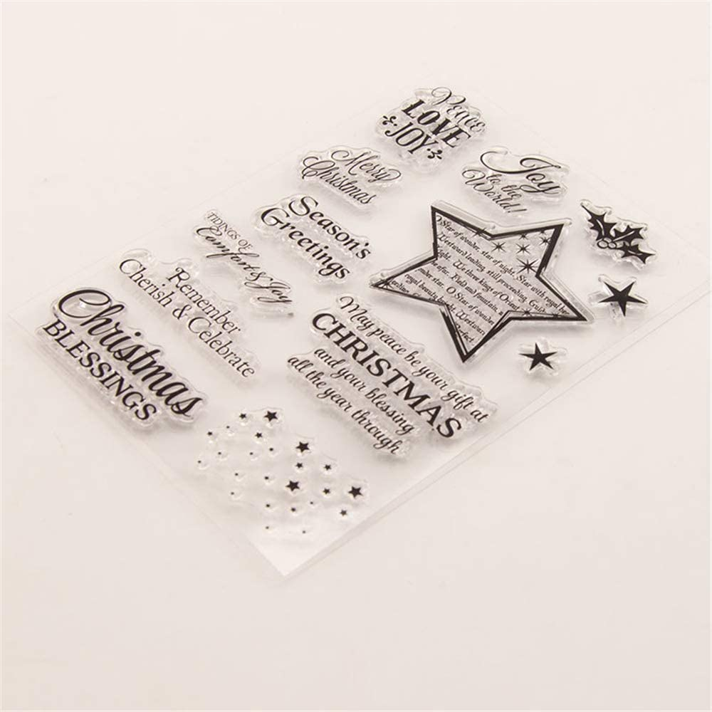 1 Sheet Windows Christmas Tree Santa Claus Kids Cat Dog Clear Rubber Stamps for Scrapbooking Card Making Christmas Album Decors T1345