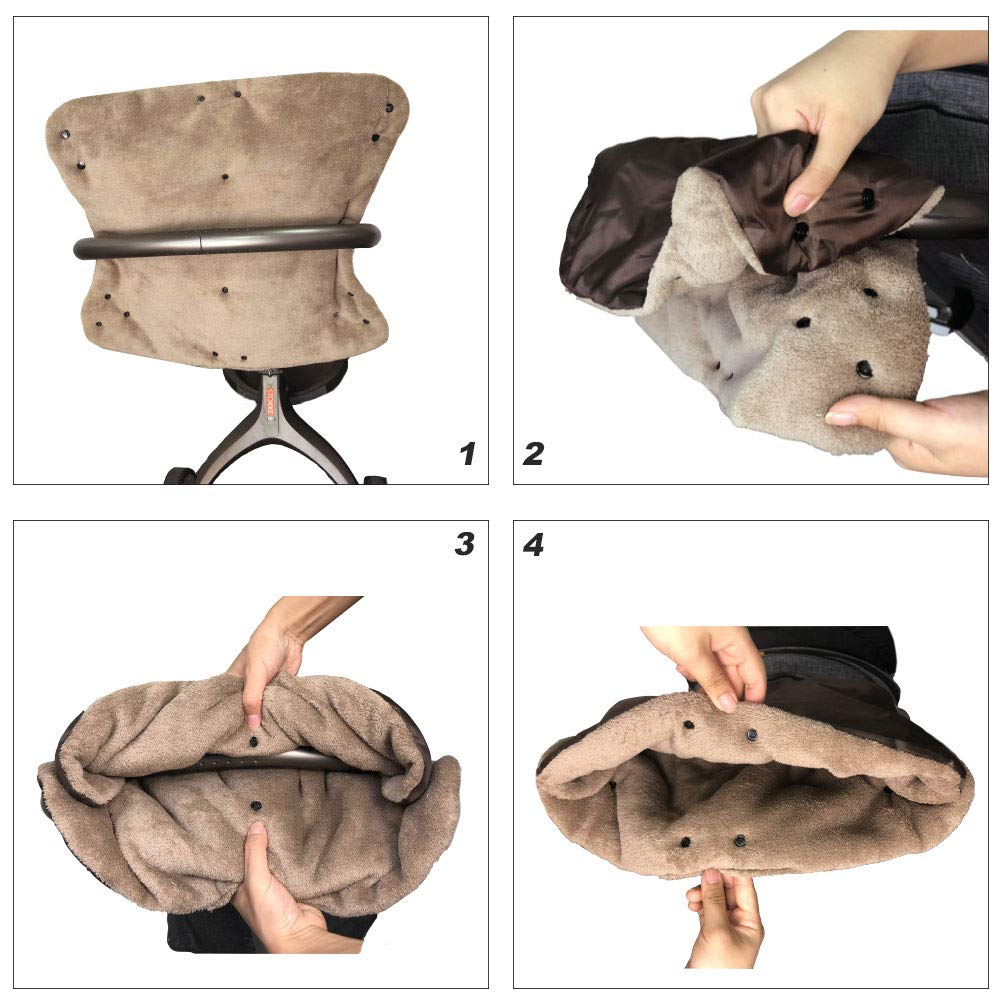 Coral Fleece Warm Lining Stroller Hand Muff Anti-freeze Waterproof Fingless Gloves Warmer Winter Gift,Multi-color Available